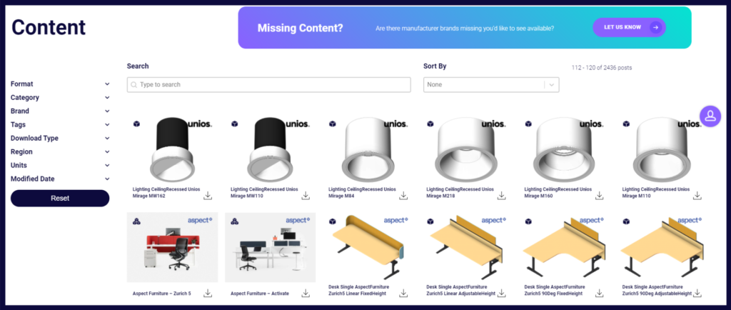 Screenshot of BIMcontent.com Content library featuring a range of products from various manufacturers