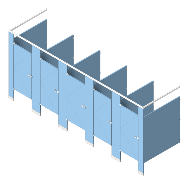 CubicleArray_FloorAnchored_AccuratePartitions_HDPE_OverheadBraced_3D Shaded