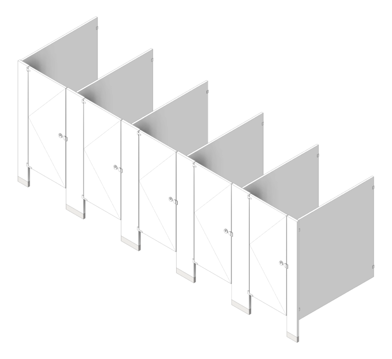 CubicleArray_FloorAnchored_AccuratePartitions_PowderCoatSteel_3D Shaded