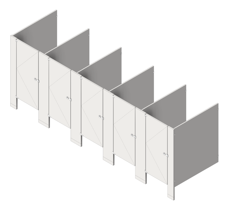 CubicleArray_FloorAnchored_AccuratePartitions_StainlessSteel_3D Shaded