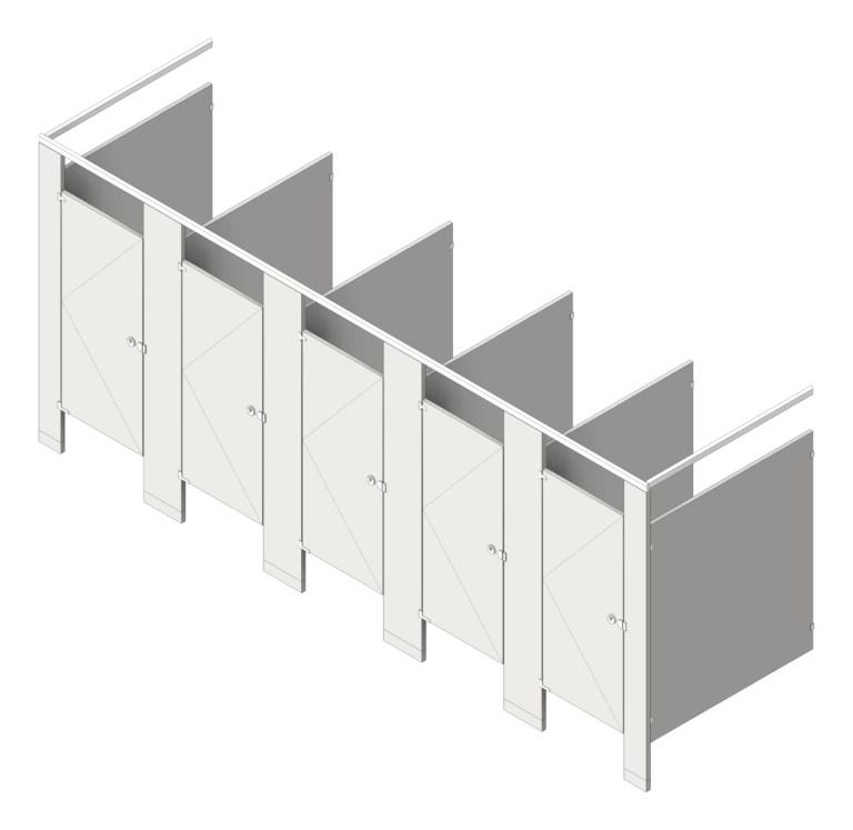 CubicleArray_FloorAnchored_AccuratePartitions_StainlessSteel_OverheadBraced_3D Shaded