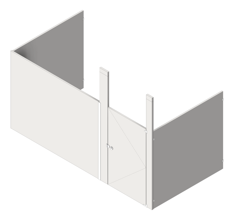 Cubicle_CeilingHung_AccuratePartitions_StainlessSteel_Alcove_3D Shaded