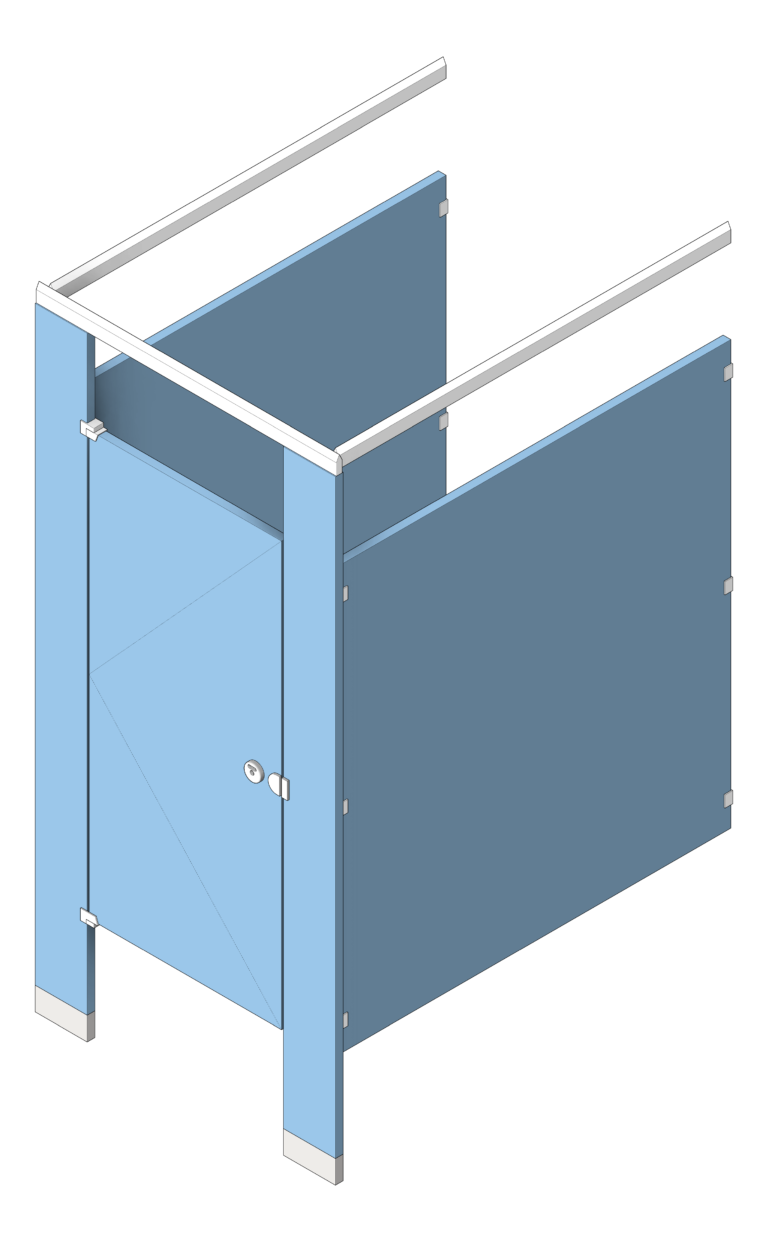 Cubicle_FloorAnchored_AccuratePartitions_HDPE_OverheadBraced_3D Shaded