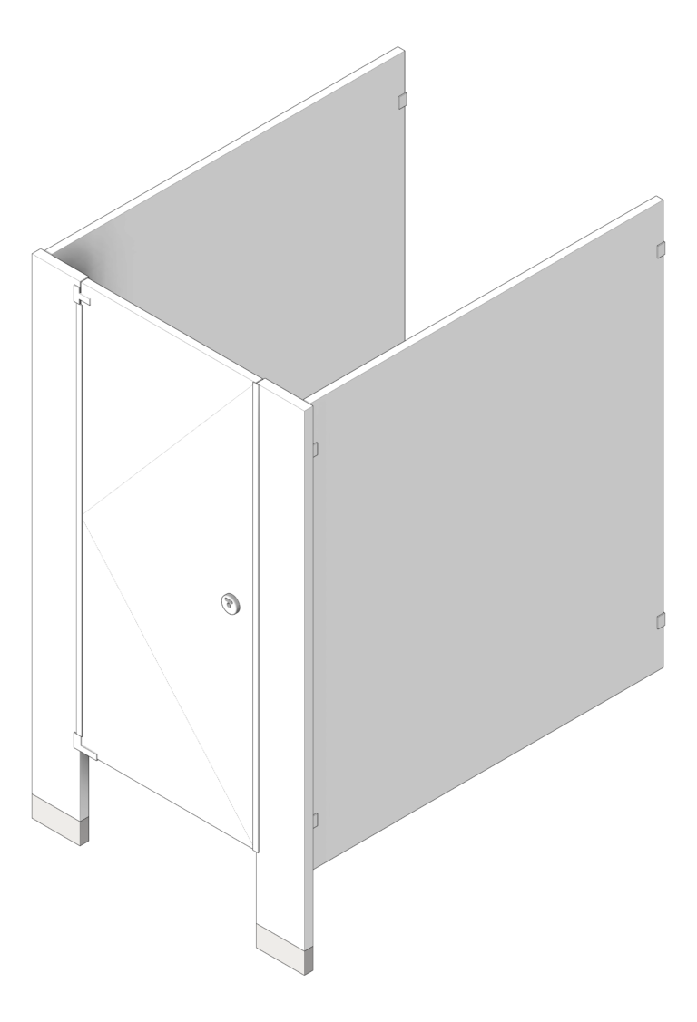Cubicle_FloorAnchored_AccuratePartitions_PowderCoatSteel_UltimatePrivacy_3D Shaded