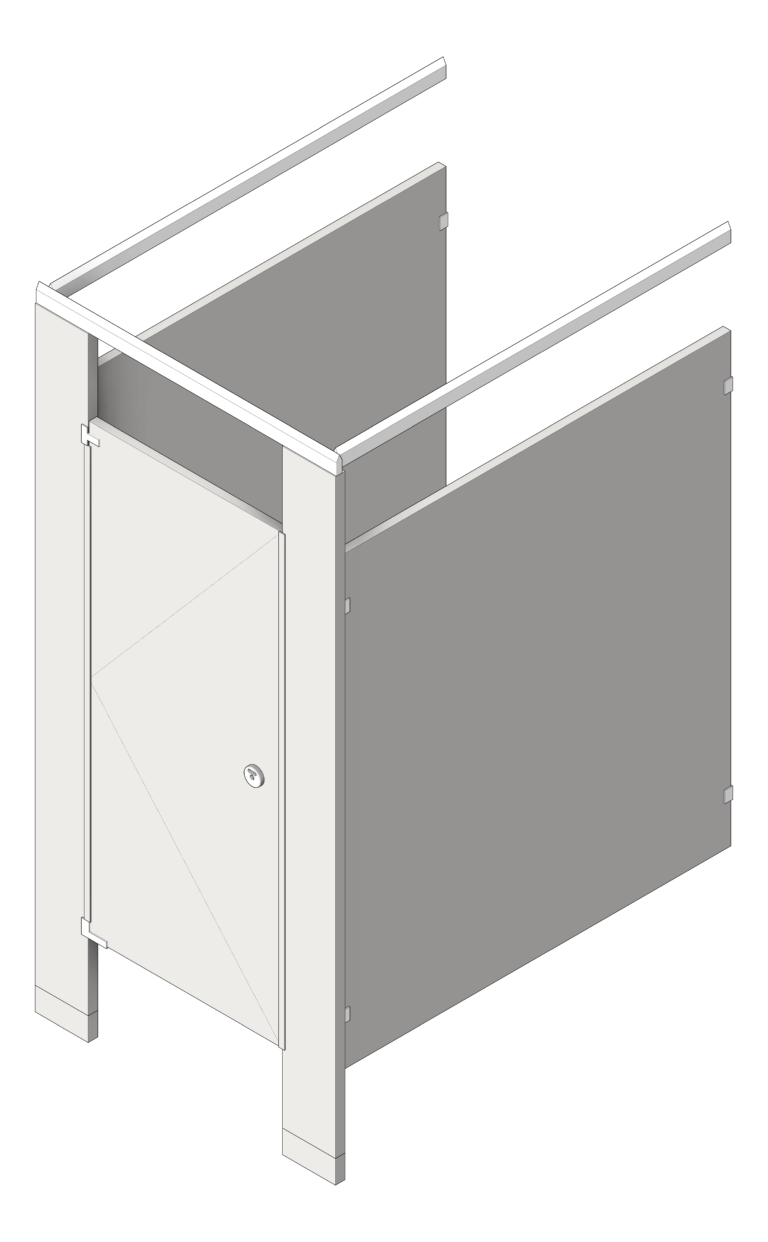 Cubicle_FloorAnchored_AccuratePartitions_StainlessSteel_OverheadBraced_UltimatePrivacy_3D Shaded
