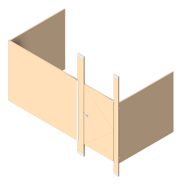 Cubicle_FloorToCeilingAnchored_AccuratePartitions_LaminateLegacy_Alcove_3D Shaded