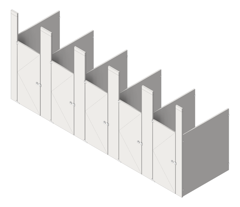 CubicleArray_CeilingHung_GlobalPartitions_StainlessSteel_3D Shaded