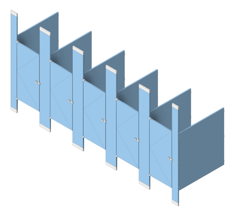 CubicleArray_FloorToCeilingAnchored_GlobalPartitions_HDPE_3D Shaded