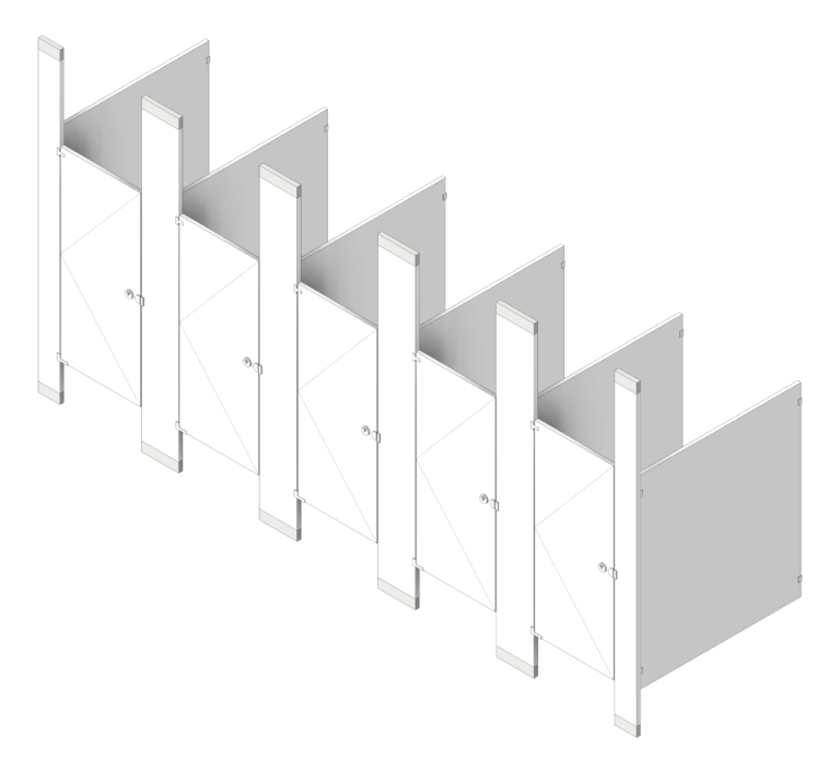 CubicleArray_FloorToCeilingAnchored_GlobalPartitions_PowderCoatSteel_3D Shaded