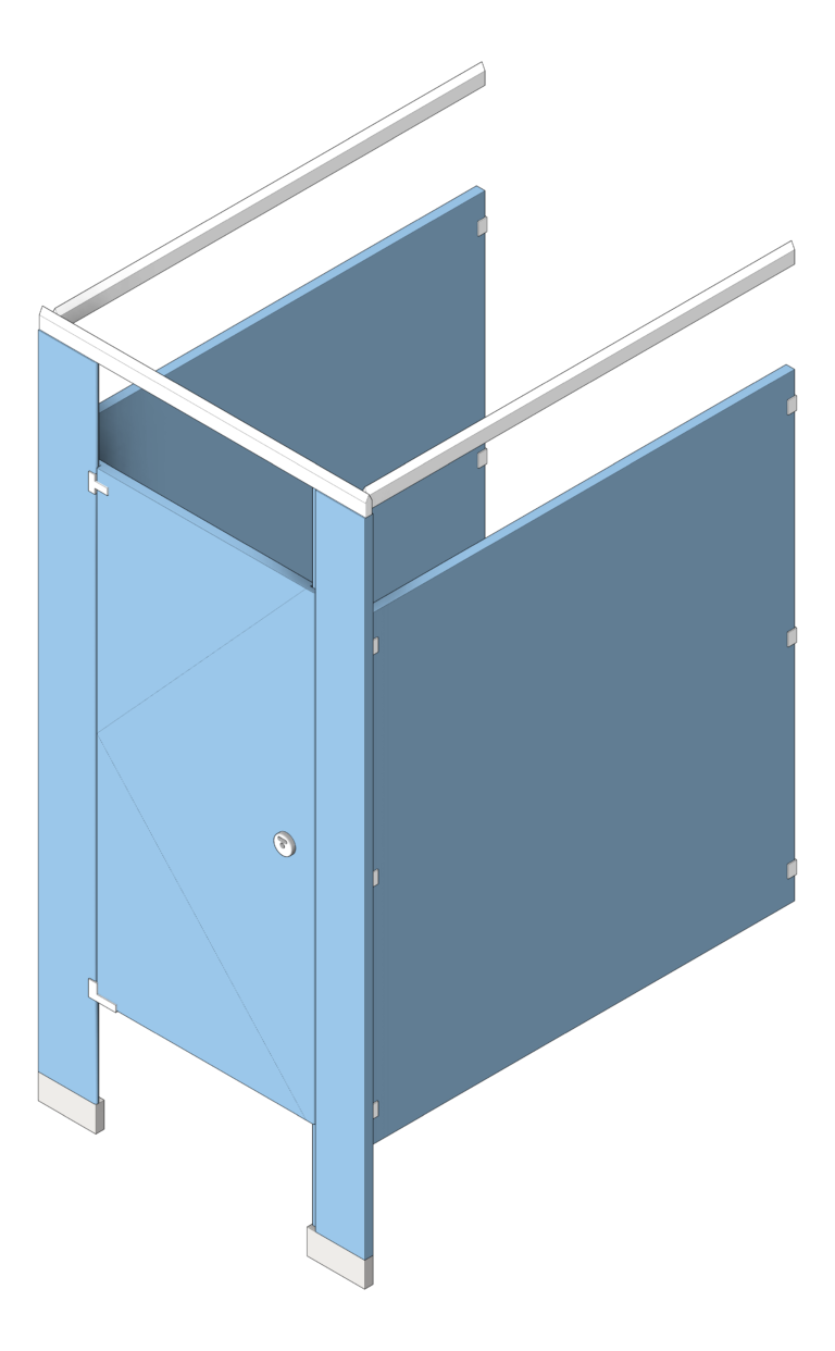 Cubicle_FloorAnchored_GlobalPartitions_HDPE_OverheadBraced_UltimatePrivacy_3D Shaded