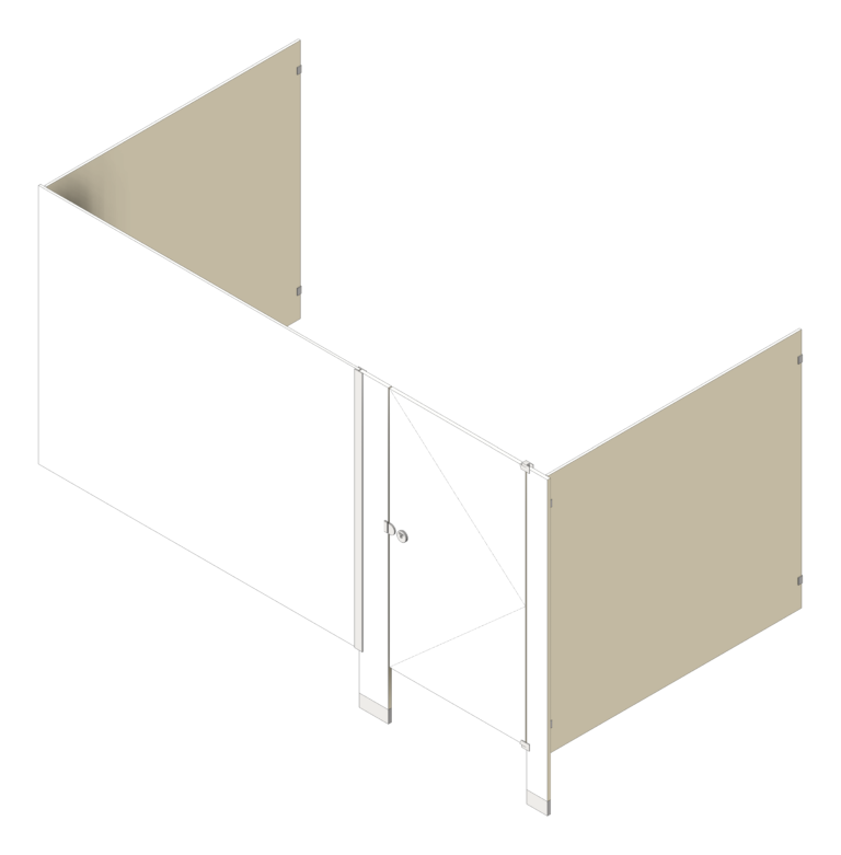 Cubicle_FloorAnchored_GlobalPartitions_PhenolicBlackCore_Alcove_3D Shaded