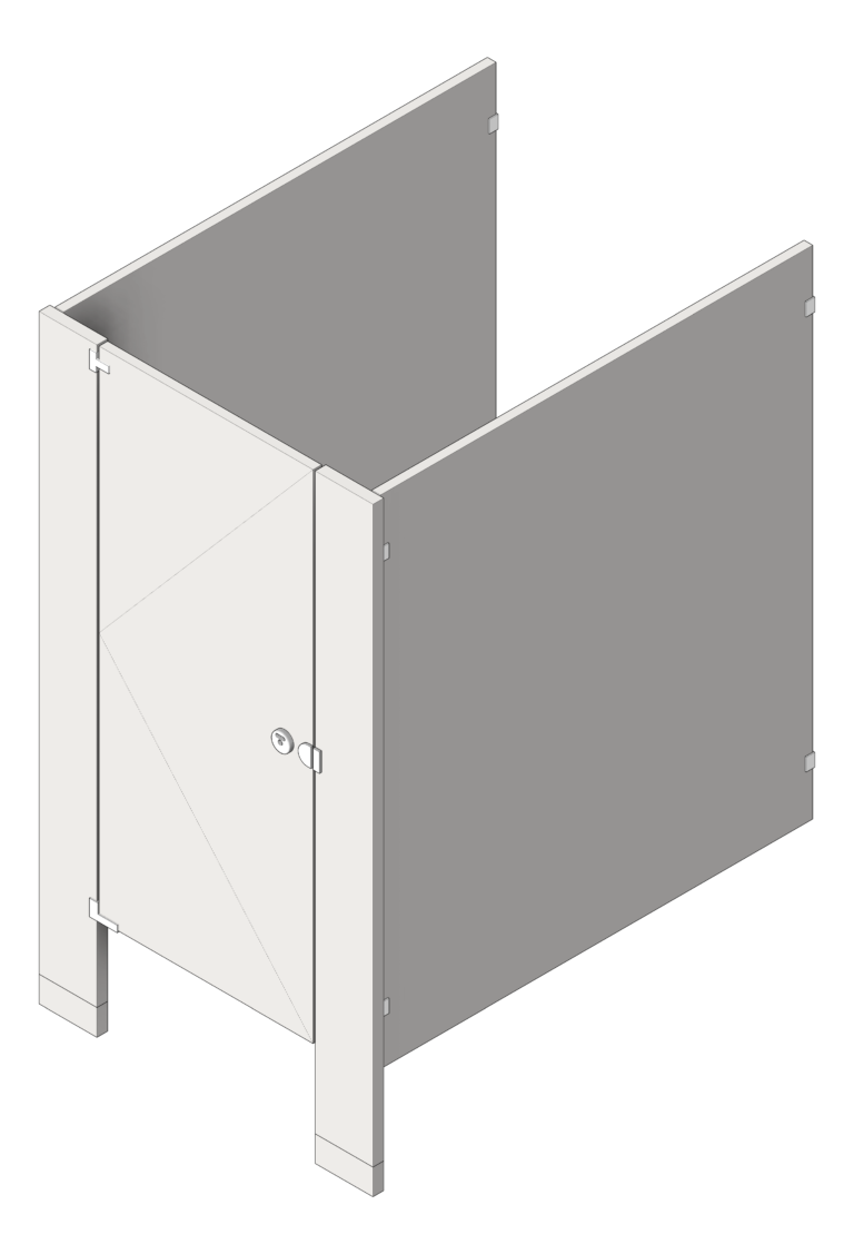 Cubicle_FloorAnchored_GlobalPartitions_StainlessSteel_3D Shaded