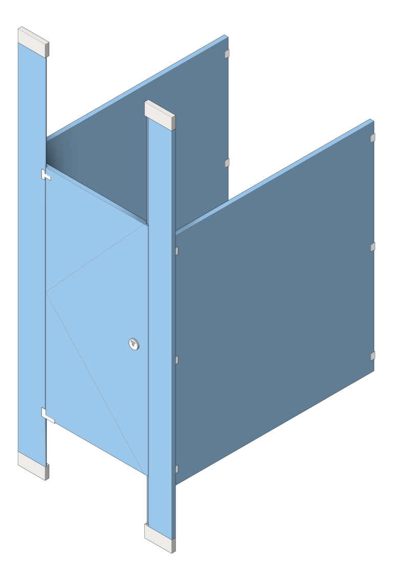 Cubicle_FloorToCeilingAnchored_GlobalPartitions_HDPE_UltimatePrivacy_3D Shaded