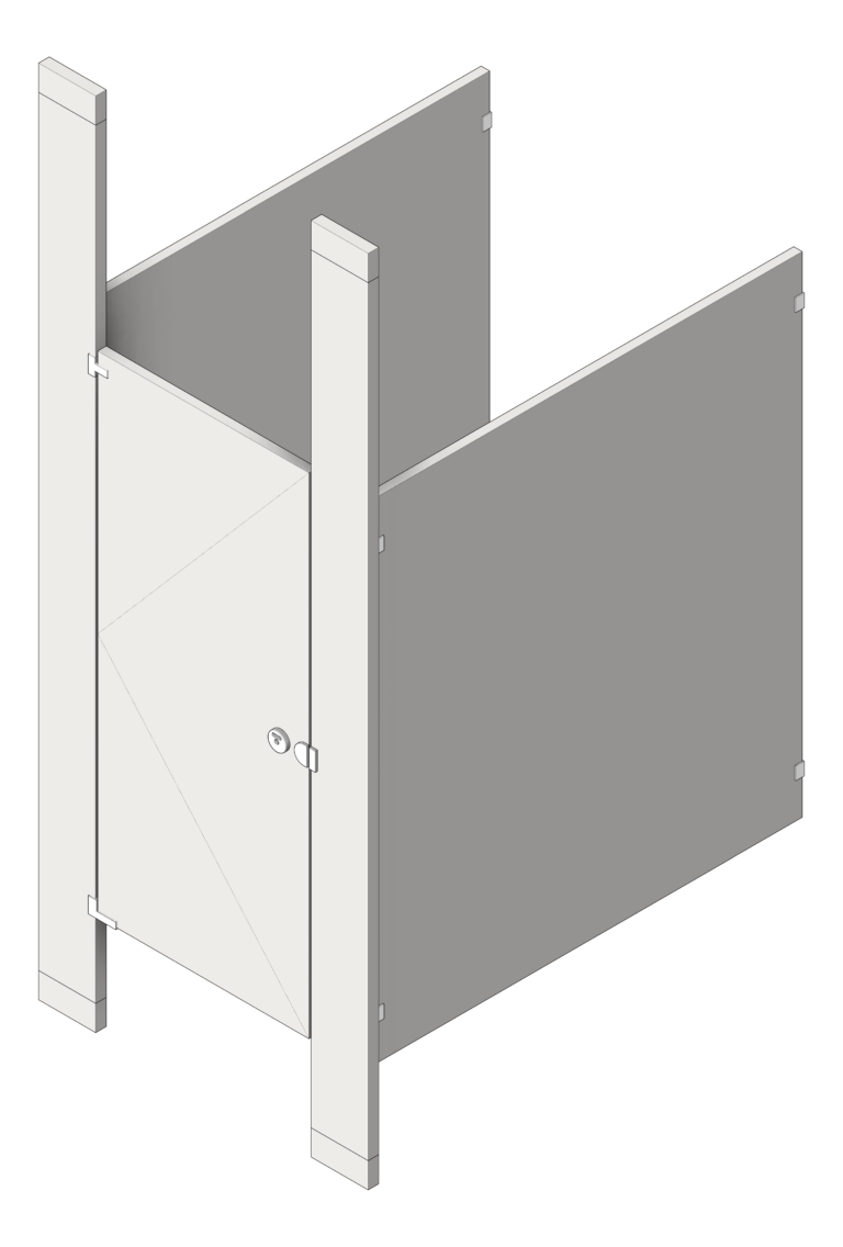 Cubicle_FloorToCeilingAnchored_GlobalPartitions_StainlessSteel_3D Shaded