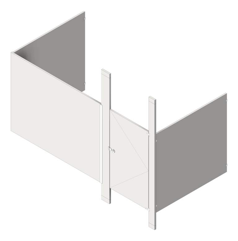Cubicle_FloorToCeilingAnchored_GlobalPartitions_StainlessSteel_Alcove_3D Shaded