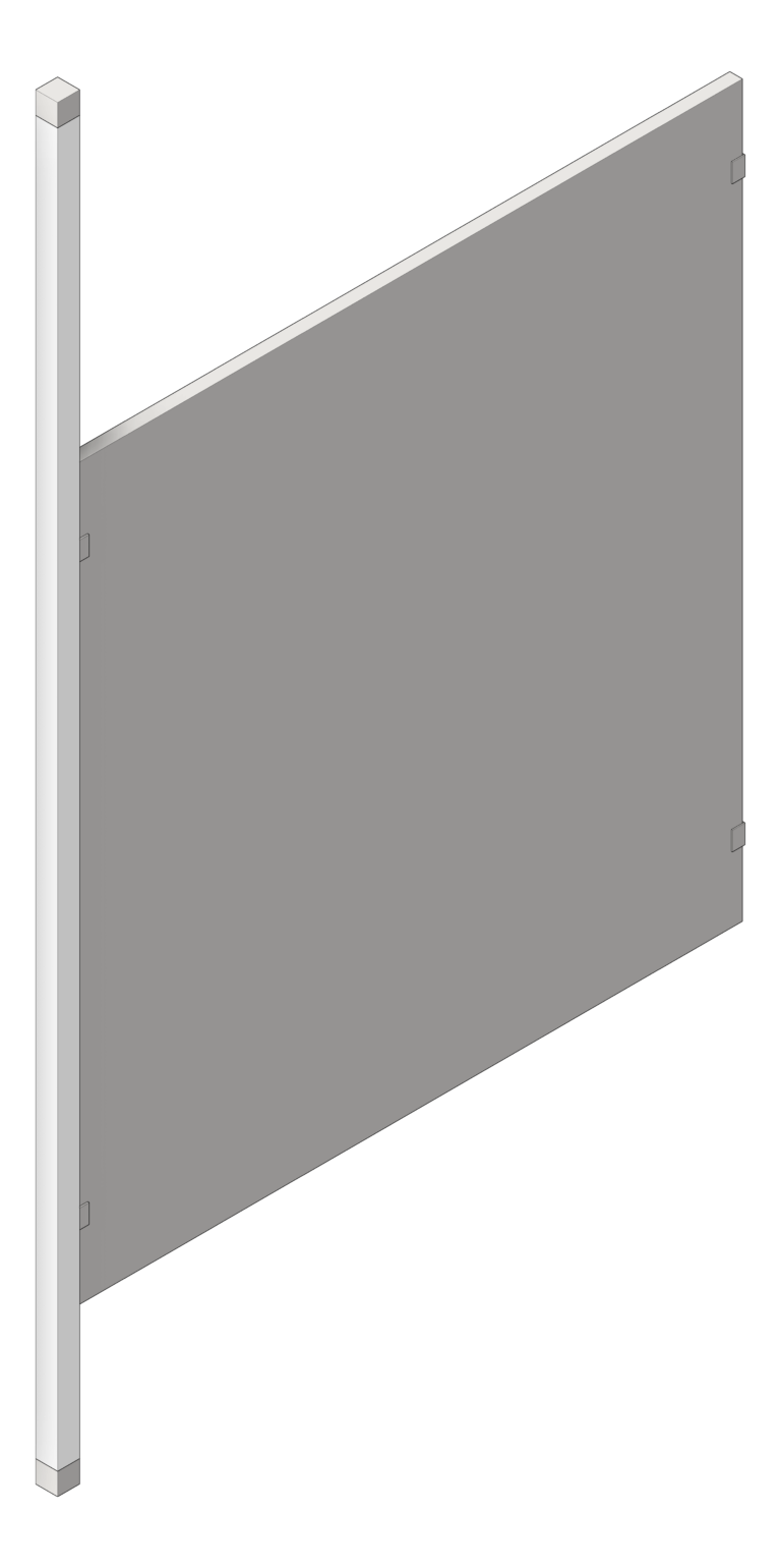 UrinalScreen_FloorToCeilingAnchored_GlobalPartitions_StainlessSteel_PostMount_3D Shaded