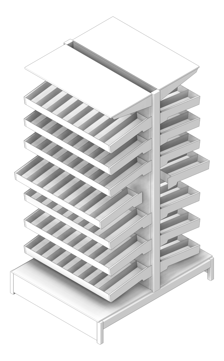 Shelving_Pharmacy_IntraSpace_DoubleSided_3D Shaded