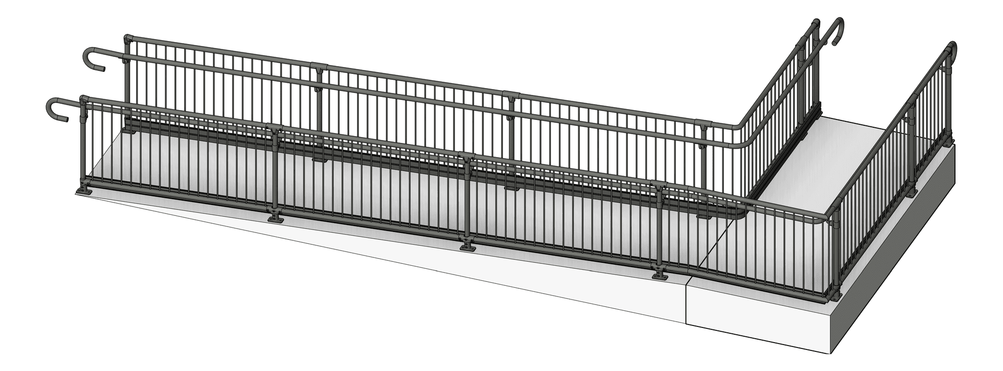 Balustrade_Commercial_Moddex_Conectabal_3D Shaded