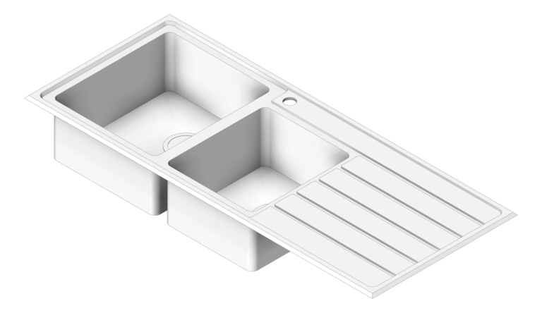 Sink_Kitchen_Oliveri_Apollo_OneAndThreeQuarterBowl_Topmount_Drainer_LHS_3D Shaded