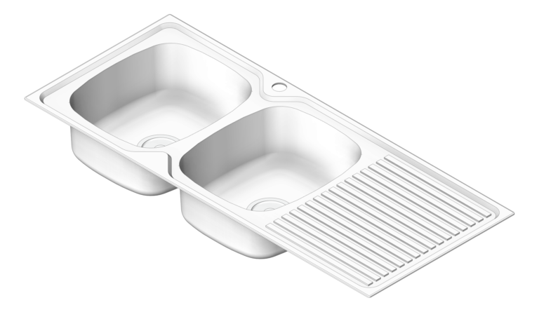 Sink_Kitchen_Oliveri_ProjectSinks_DoubleBowl_Drainer_LHS_3D Shaded