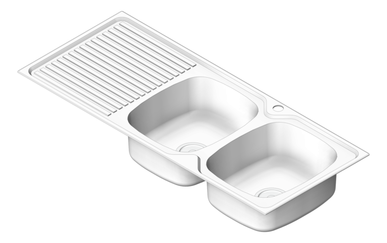Sink_Kitchen_Oliveri_ProjectSinks_DoubleBowl_Drainer_RHS_3D Shaded
